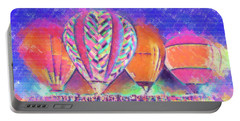 Hot Air Balloons Night Festival In Pastel Portable Battery Charger