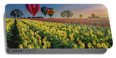 Hot Air Balloons Over Tulip Fields Portable Battery Charger by William Lee