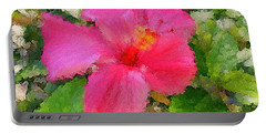 Hot Pink Hibiscus Portable Battery Charger by Alan Lakin