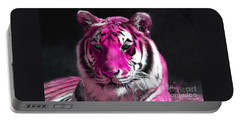 Hot Pink Tiger Portable Battery Charger by Rebecca Margraf