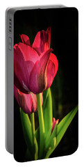 Hot Pink Tulip On Black Portable Battery Charger