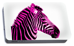 Hot Pink Zebra Portable Battery Charger by Rebecca Margraf