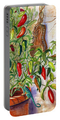 Portable Battery Charger featuring the painting Hot Sauce On The Vine by Marilyn Smith