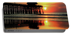 Hot Sunrise Over Cocoa Beach Pier  Portable Battery Charger