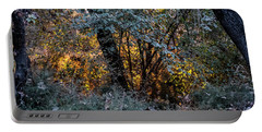 Portable Battery Charger featuring the photograph Hot Sunset In The Forest by Arik Baltinester
