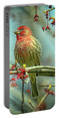 Portable Battery Charger featuring the photograph House Finch In Spring by Rodney Campbell