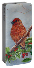 House Finch In Winter Portable Battery Charger