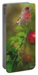 House Finch On Apple Branch 2 Portable Battery Charger