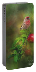 House Finch On Apple Branch Portable Battery Charger