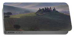 Portable Battery Charger featuring the photograph House In Tuscany In The Morning Fog by IPics Photography