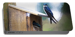 Portable Battery Charger featuring the photograph House Of Bluebirds by James BO Insogna