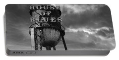 Portable Battery Charger featuring the photograph House Of Blues B/w by Laura Fasulo