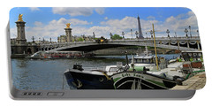 Houseboats On The Seine Portable Battery Charger