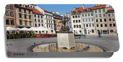 Houses And Mermaid On Warsaw Old Town Square Portable Battery Charger