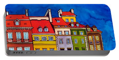 Portable Battery Charger featuring the painting Houses In The Oldtown Of Warsaw by Dora Hathazi Mendes