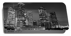 Houston By Night In Black And White Portable Battery Charger