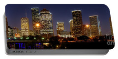 Houston Skyline At Night Portable Battery Charger