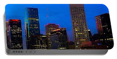 #houston #skyline At #night. #lights Portable Battery Charger by Austin Tuxedo Cat
