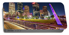 Houston Skyline From Buffalo Bayou Pedestrian Bridge Portable Battery Charger