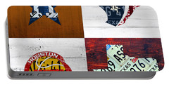 Houston Sports Fan Recycled Vintage Texas License Plate Art Astros Texans Rockets And State Map Portable Battery Charger