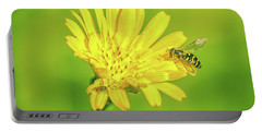 Portable Battery Charger featuring the photograph Hoverfly June 2016. by Leif Sohlman