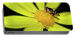 Portable Battery Charger featuring the photograph Hoverfly On Bright Yellow Daisy By Kaye Menner by Kaye Menner