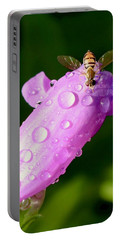 Hoverfly On Pink Flower Portable Battery Charger