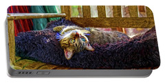 Portable Battery Charger featuring the photograph How My Cat Looks When I Am On Acid by John Kolenberg