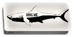 Hug Me Shark - Black  Portable Battery Charger by Pixel  Chimp