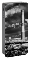 Huge Industrial Chimney And Smoke In Black And White Portable Battery Charger