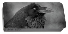 Portable Battery Charger featuring the photograph Huginn... by Nina Stavlund