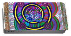 Hula Hoop Circles Tubes Girls Games Abstract Colorful Wallart Interior Decorations Artwork By Navinj Portable Battery Charger by Navin Joshi