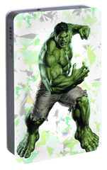 Portable Battery Charger featuring the mixed media Hulk Splash Super Hero Series by Movie Poster Prints