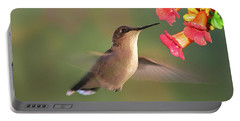 Portable Battery Charger featuring the photograph Hummer With Trumpet Vine Flowers by Judy Johnson