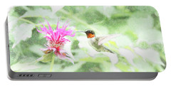 Humming Bird And Bee Balm Portable Battery Charger by David Stasiak