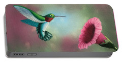 Humming Bird Feeding Portable Battery Charger by Brenda Bonfield