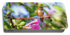 Humming Bird Pink Flowers Portable Battery Charger by Stephanie Hayes