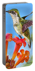 Portable Battery Charger featuring the painting Hummingbird And A Trumpet Vine 2 by Phyllis Beiser