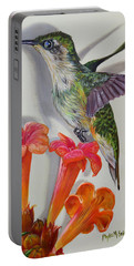 Portable Battery Charger featuring the painting Hummingbird And A Trumpet Vine by Phyllis Beiser
