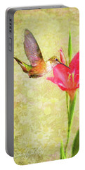 Portable Battery Charger featuring the digital art Hummingbird And Flower by Christina Lihani