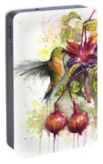 Hummingbird And Fuchsia Portable Battery Charger by Olga Shvartsur