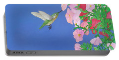 Hummingbird And Petunias Portable Battery Charger