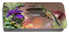 Hummingbird And Purple Flower Portable Battery Charger