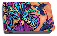 Portable Battery Charger featuring the painting Hummingbird And Stained Glass Hearts by Lori Miller