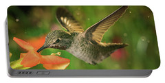 Portable Battery Charger featuring the photograph Hummingbird And The Monkey Flowers by William Lee
