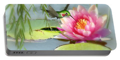 Hummingbird And Water Lily Portable Battery Charger