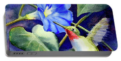 Portable Battery Charger featuring the painting Hummingbird Delight by Bonnie Rinier