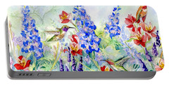 Hummingbird Garden In Spring Portable Battery Charger by Audrey Jeanne Roberts