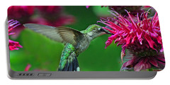 Portable Battery Charger featuring the photograph Hummingbird Gathering Nectar by Rodney Campbell