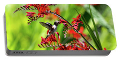 Hummingbird Getting Nectar From Flower Portable Battery Charger